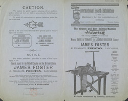 Advert For James Foster's Victoria Knitting Machine
